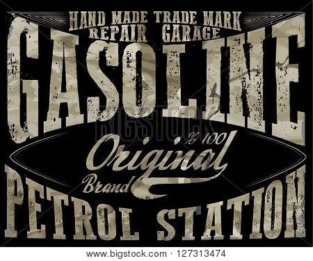 Vintage Gasoline authentic gas pump vector illustration print. Vintage gasoline retro signs and labels. Gas station.
