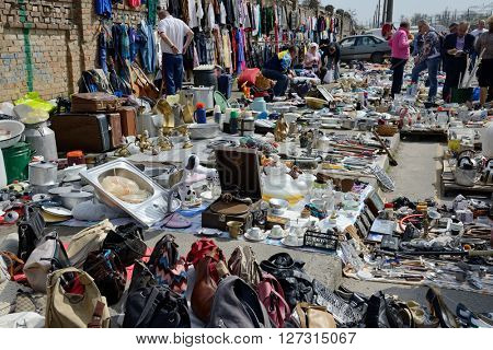 Kiev, Ukraine, April 10, 2016. Swap meet, collection of old things