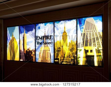 New York City USA - July 10 2015: Illuminated signs of the Store in the Empire State Building. The Empire State Building was the first building to have more than 100 floors.