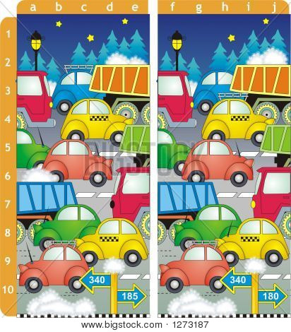 spot 10 differences picture puzzle - cars and trucks on the road winter evening or night (answer: differences are near the points b1 c2 e2 c3 a5 a6 d7 c8 a9 e10) poster