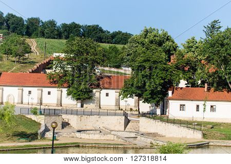 Moldovan orthodoxal monastery. Picturesque scenery at summer day with bright blue sky.