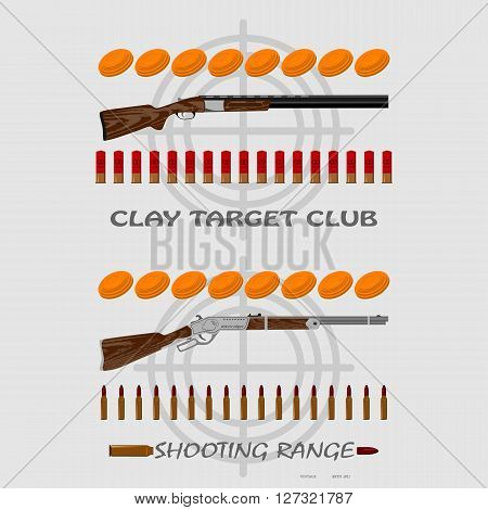 rifle, bullets, plates and target for marksmanship