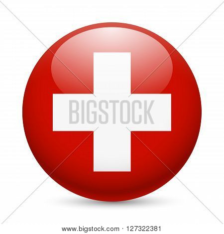 Flag of Switzerland as round glossy icon. Button with Swiss flag