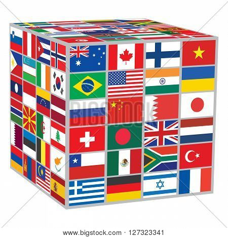 cube with world flags over white vector illustration