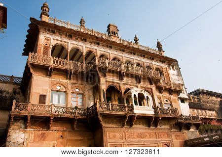 Beautiful ancient building of Ramnagar Fort with balconies and patterned arches in Varanasi India. The Ramnagar Fort of Varanasi was built in 1750 in typical Mughal style of architecture