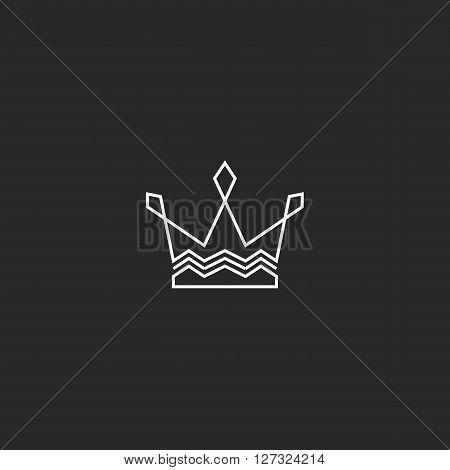 Tiara Logo, Crown Monogram Icon, Royal Emblem Intersection Thin Line, Decoration Design Element
