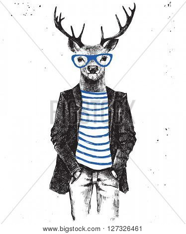 Hand drawn dressed up hipster deer. Vector illustration in hipster style