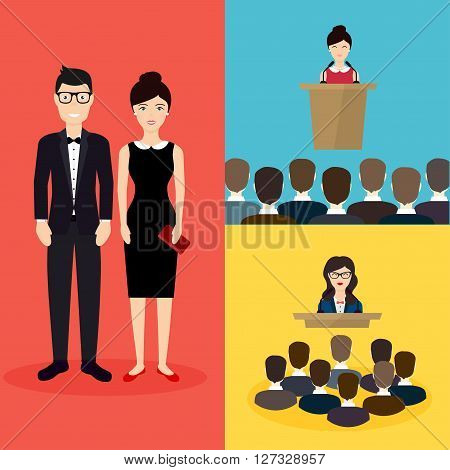 Business People. Social Network And Social Media Concept. Business Flat Vector Illustration.