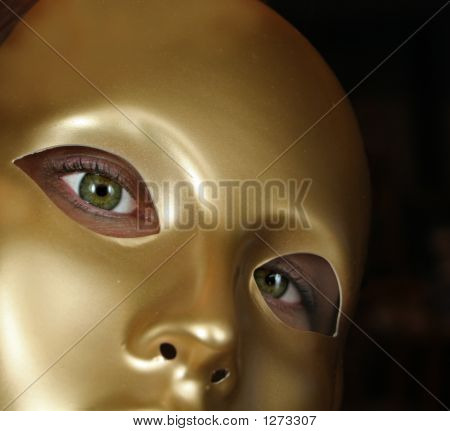 Green Eyes And Gold Mask