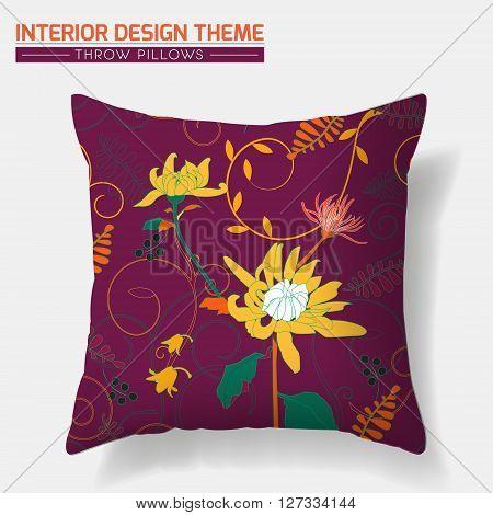 Decorative Floral Throw Pillow design vector template. Original Crysathemum pattern is complete masked. Interior design element. Creative Sofa cushion. Vector design is layered editable