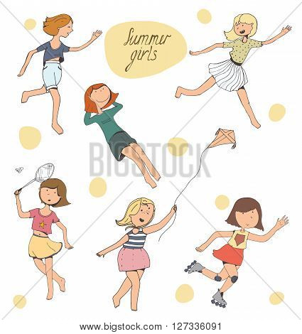 Set of cute young girls playing outdoors doing sports and activity - badminton catch-up rolling running a kite laying down. Isolated on white positive characters smiling kind full colored. Vector illustration