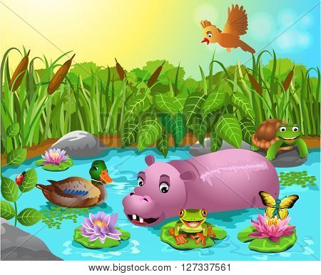 cartoon pond with hippo and wild duck