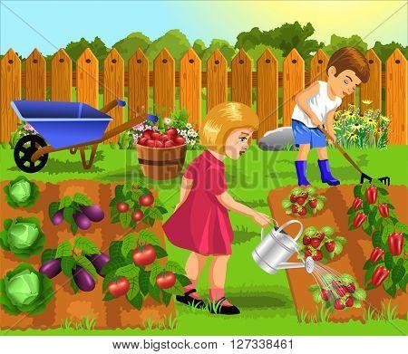 children doing gardening work