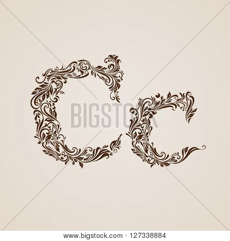 Handsomely decorated letter c in upper and lower case.