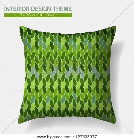 Decorative Cheerful Throw Pillow design template. Original pattern in eco style is complete masked. Modern interior design element. Creative Sofa Toss Pillow. Vector design is layered editable