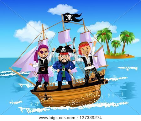 three pirates on a ship in the middle of the ocean