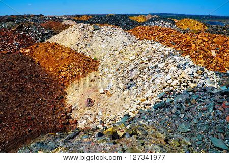 Colorful dumps of ???????? depleted iron ore