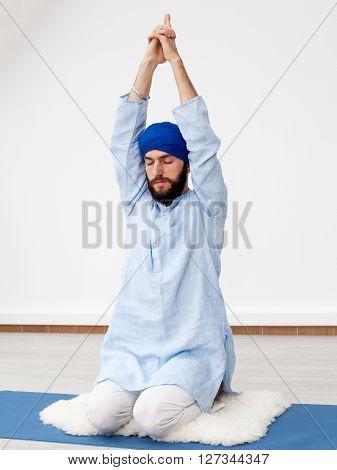 Young Yogi  Man Doing Extension