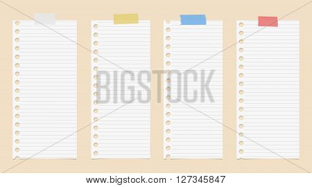 White cut out lined notebook paper are stuck with colorful adhesive tape on brown background.