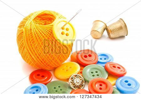Buttons, Needle, Thimbles And Thread