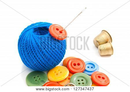 Plastic Buttons, Thimbles And Thread