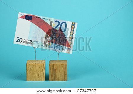Euro Currency Decline Illustrated Over Blue
