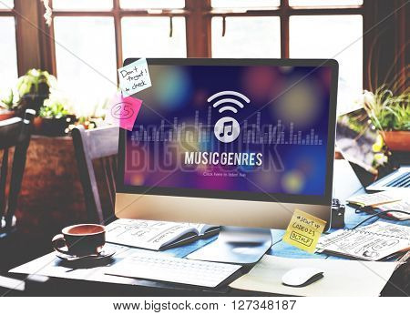 Music Genres Style Design Electronic Jazz Rock Concept