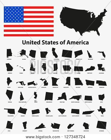 Set of black USA states on white background - vector illustration. Simple flat map - United States. USA flag general map and all states individually.