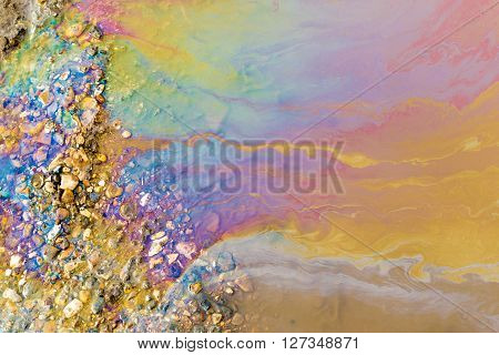 Psychedelic Abstract Of Toxic Oil Pollution On Water