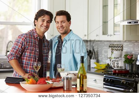 Smiling male gay couple preparing a meal look to camera