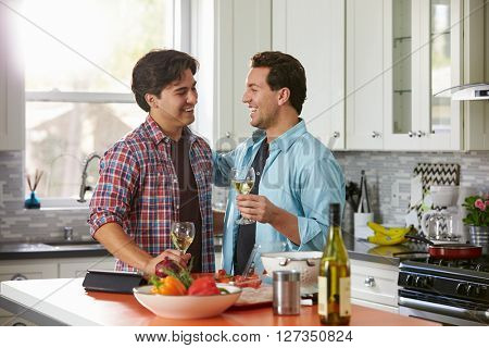 Laughing male gay couple drinking wine and preparing a meal