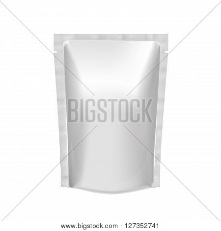 Mockup Blank Foil Food Or Drink - coffee, cocoa, sweets, olives, sauce. White Realistic Plastic Pouch Ready For Your Design And Branding.