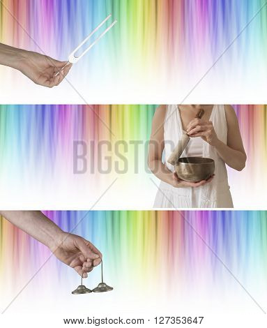 Sound and color healing website banners x 3 - rainbow colored graduated linear background with tuning fork, Tibetan seven metal singing bowl and Ting Sha Ceremonial bells and plenty of copy space