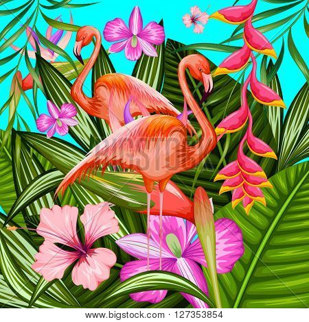 Exotic tropical background with flamingo and flowers