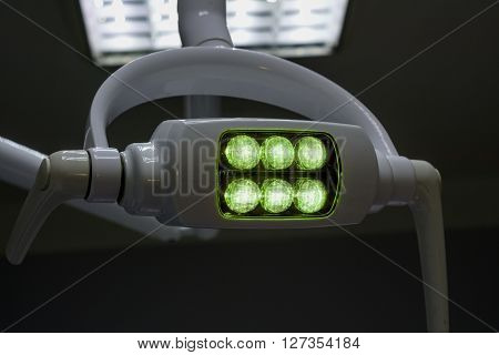 Glowing White Medical Shadowless Lamp With Green Light In The Dark Room