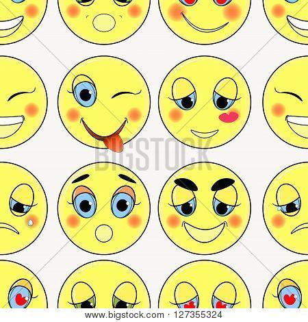 set of emoticons sad kind love happy seamless vector illustration