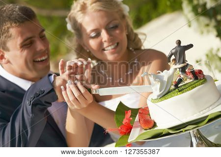 Lovely Couple Cutting Wedding Cake During Ceremony On Tropical Island.
