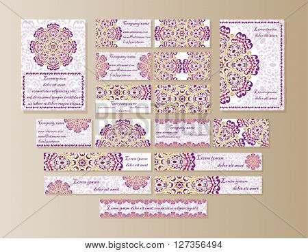 A large set of printed materials from Mandala design in oriental style. Flyers business cards banners with bright burgundy orange mandala.