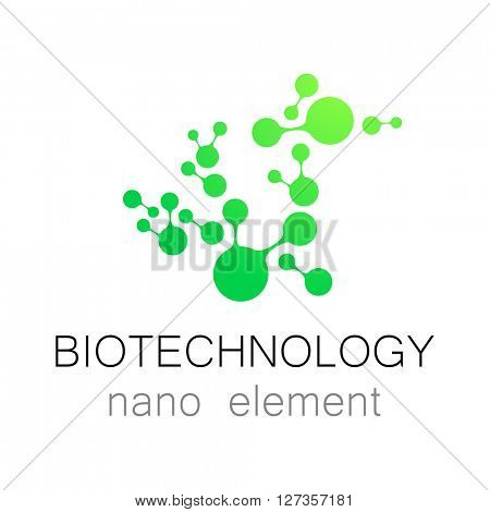 Nanotechnology. Biotechnology.  Abstract molecule logo template. Medical industry  identity.