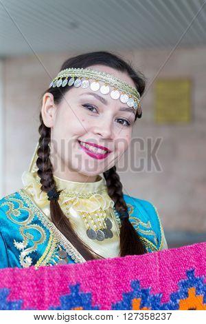 Woman In National Russian Bashkir Dress