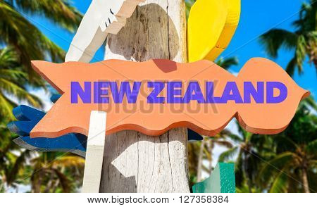 New Zealand signpost with palm trees