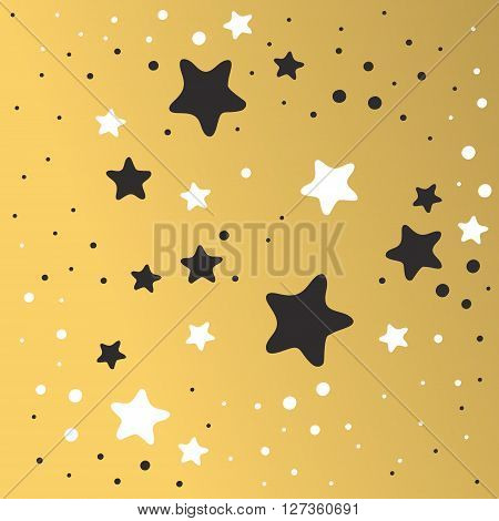 Abstract Xmas golden star background design wallpaper space graphic art vector illustration. Golden abstract star background with drops light texture star background. Shiny star background pattern