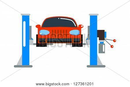 Car repair service diagnostics cartoon lift flat vector illustration. Auto car mechanic lift repair of machines and car repair work equipment. Vector car repair service lift icon