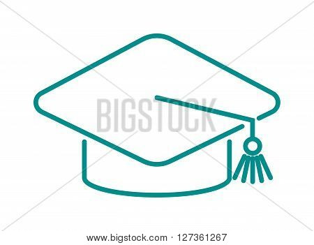 Graduation cap diploma web outline hat icon vector illustration. University school graduation hat icon and student ceremony graduation hat icon. Achievement academic degree graduate success hat.