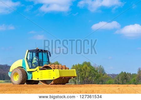 Compactor Working On The Construction Site