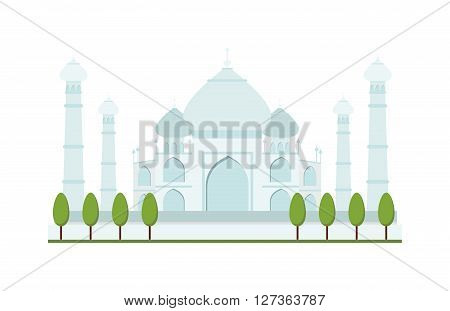 Taj Mahal bright clear day india agra palace travel architecture temple vector illustration. Taj Mahal architecture and Taj Mahal tourism monument. Taj Mahal indian religion famous mausoleum.