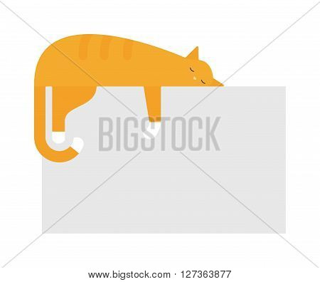 Cute cat sleeping on platform house feline domestic young adorable kitten cartoon vector illustration. Relax cat sleeping and small red cat sleeping. Orange funny cat sleeping domestic pet.