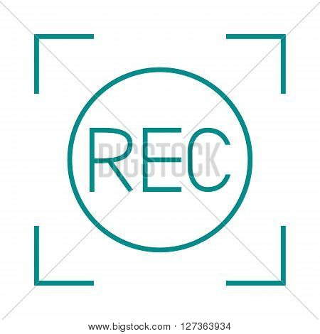 Camera viewfinder rec sign multimedia cinema film vector icon. Media rec sign and record camera rec sign. Film rec sign button design and broadcast visual template rec camcorder sign.