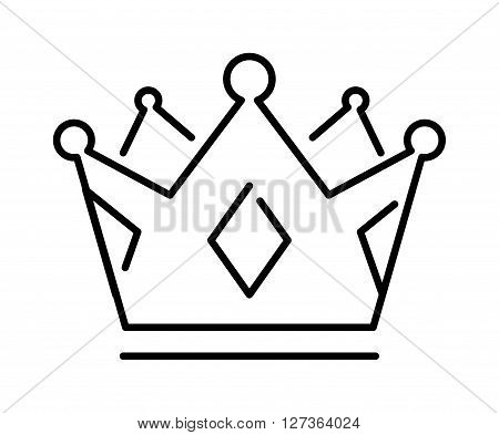 Crown of the king or royal crown line art icon apps websites design label vector. Royal crown line icon and queen crown line icon. Jewelry element monarch symbol crown line icon medieval ornament.