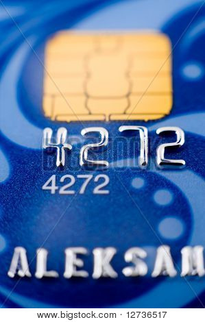 a blue bank card macro narrow focus poster